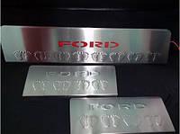 Накладки на пороги Ford Transit 2014- (3 шт, нерж.) LED-красный Carmos
