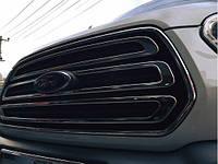 Накладкa на решетку радиатора Ford Transit 2014- (3 шт.нерж.) Carmos