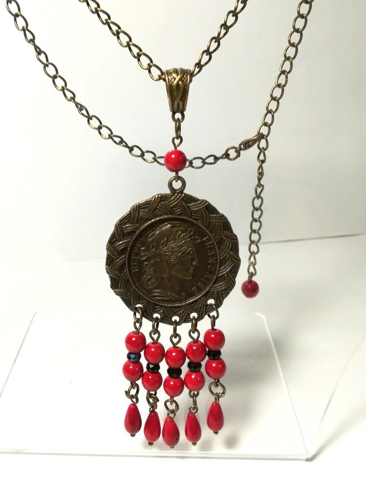 Подвеска с Кораллом на цепочкой, натуральный камень, цвет красный, бронза, тм Satori \ Sk - 0079