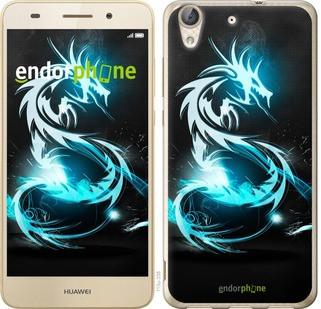 """Чехол на Huawei Y6 II Бело-голубой огненный дракон """"113c-338-571"""""""