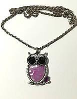 Подвеска Сова с цепочкой, иск. Перламутр, цвет розовый и его оттенки, тм Satori \ Sk - 0086