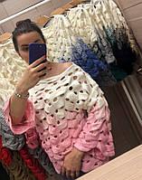 Двухцветный ажурный свитер