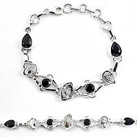 Серебряный браслет с херкимерскими алмазами и ониксом   от студии LadyStyle.Biz, фото 1