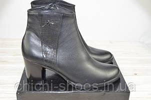 Ботильоны женские LEEX 330 чёрные кожа каблук