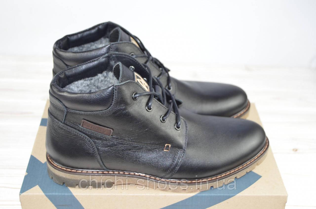 Ботинки мужские зимние Affiniti 2603-11 чёрные кожа на шнурках