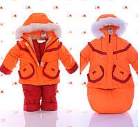 Зимняя детская одежда для девочки с мехом на капюшоне