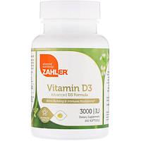 Zahler, Витамин D3, передовая формула D3, 3000 МЕ, 250 мягких таблеток