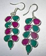 Яркие серебряные серьги с изумрудами и рубинами,  от студии LadyStyle.Biz, фото 1