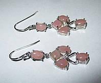 """Серебряные серьги  с розовым опалом   """"Кошачья лапка"""", от студии  LadyStyle.Biz, фото 1"""