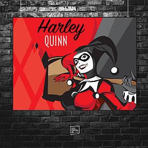 Постер Харли Квинн, Harley Quinn, арт, красная. Размер 60x45см (A2). Глянцевая бумага