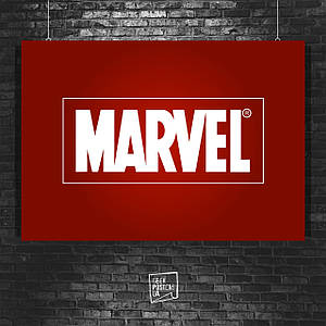 Постер Марвел логотип. Размер 60x42см (A2). Глянцевая бумага