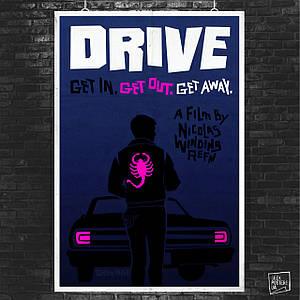 Постер Drive (2011), Райан Гослинг, Драйв. Размер 60x41см (A2). Глянцевая бумага
