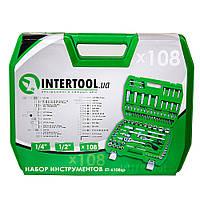 Набор инструментов Intertool ET-6108SP (108 предметов на ½ и ¼ дюйма). Набір інструментів на 108 одиниць.