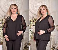 Женская блузка с прозрачными рукавами