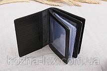 Вместительная кожаная чёрная обложка для прав, натуральная кожа, фото 3