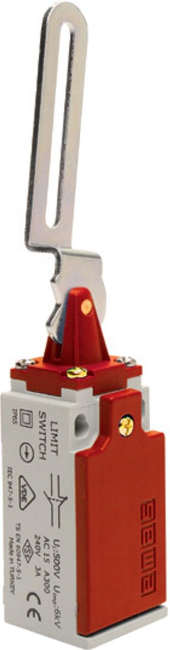 Выключатель концевой с  пластиковой консолью и изогнутым металлическим рычагом (1НО+1НЗ) (срабатывание влево)