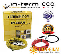 Нагревательный греющий кабель In-term ECO 92м п(9-14,7м²)1850Вт Электрический кабельный теплый пол , фото 1