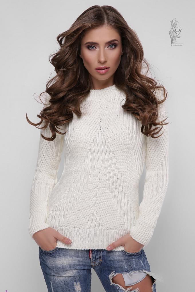 Вязаный женский свитер Велия-1 из шерсти и акрила