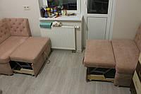 Комплет мягкой мебели для маленькой кухохни (Розовый), фото 1