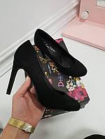 Туфли круглый нос высокий каблук черные, фото 1