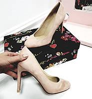 Туфли круглый нос высокий каблук пудровые, фото 1