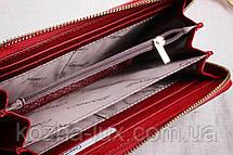 Кошелек на молнии женский кожаный R-14071, темно красный, натуральная кожа, фото 2