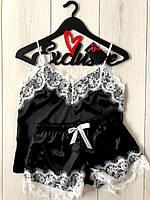 Стильный черный атласный комплект с белым кружевом ТМ Exclusive