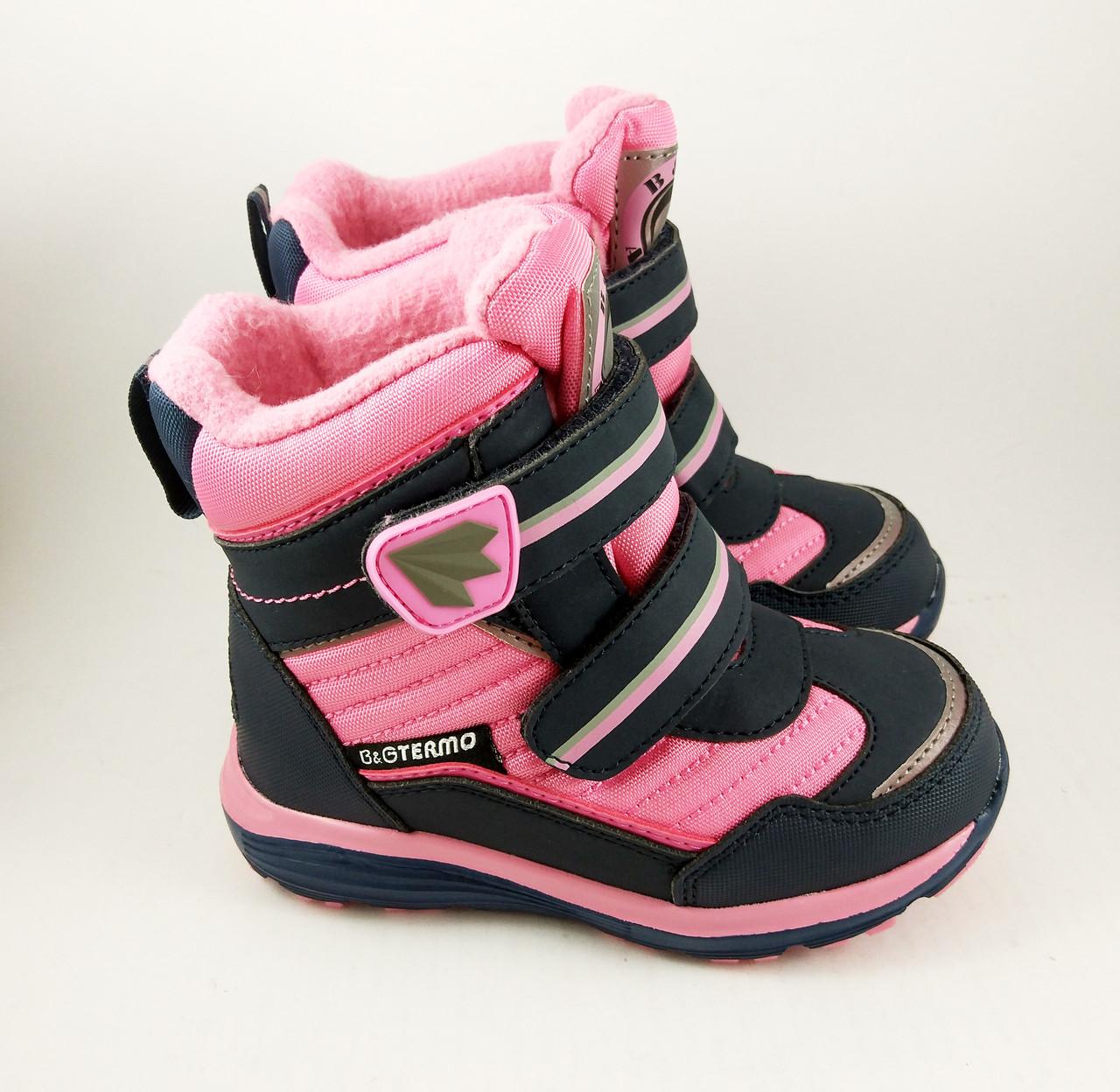 662c5f2f495bf9 Термоботинки B&G-Termo для девочек, зимняя обувь детская, черно-розовые