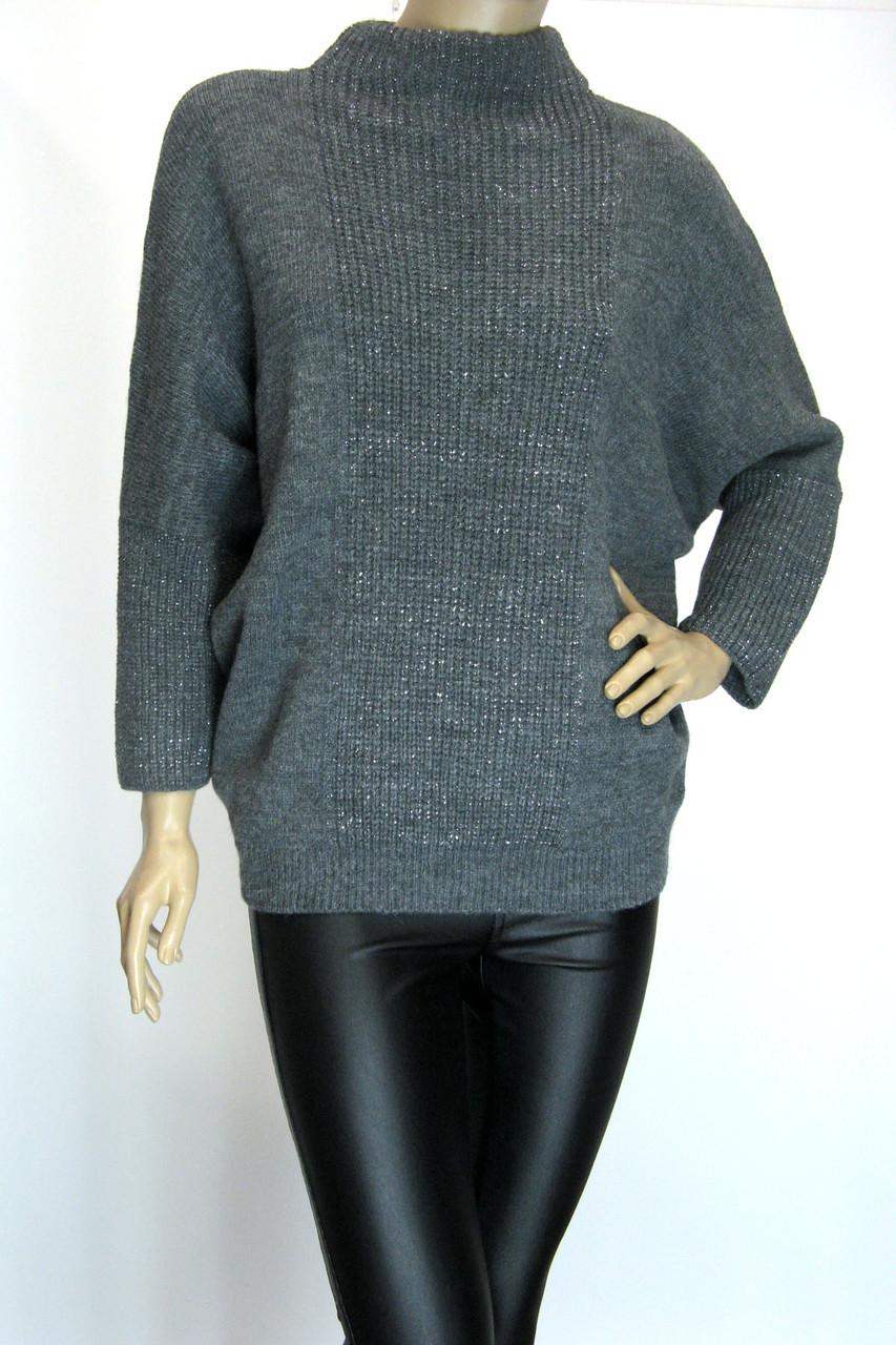 Жіночий светр гольф оверсайз з люрексом