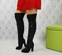 Сапоги ботфорты замшевые на устойчивом каблуке шнуровка