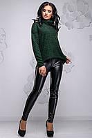 Теплий жіночий светр з ангори з високим коміром вільного фасону 42-54 розміру темно-зелений, фото 1