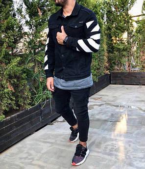Джинсовый мужской пиджак черный, фото 2