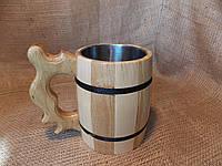 Кружка пивная деревянная с нержавеющей вставкой