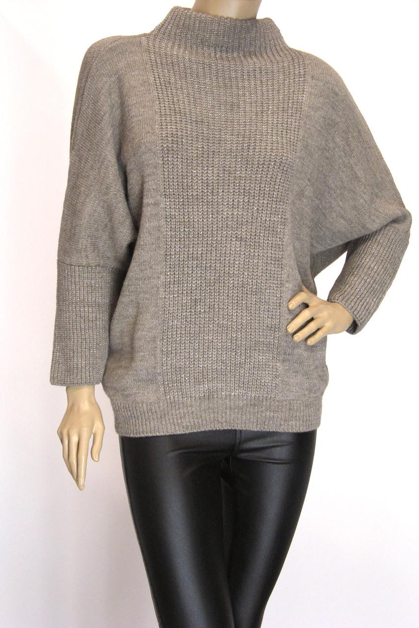 Свитер оверсайз бежевый с люрексом пуловер