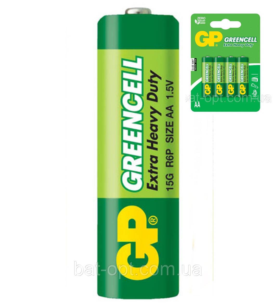 Батарейка солевая GP 15G-U4 Greencell R6 AA пальчиковая (блистер)