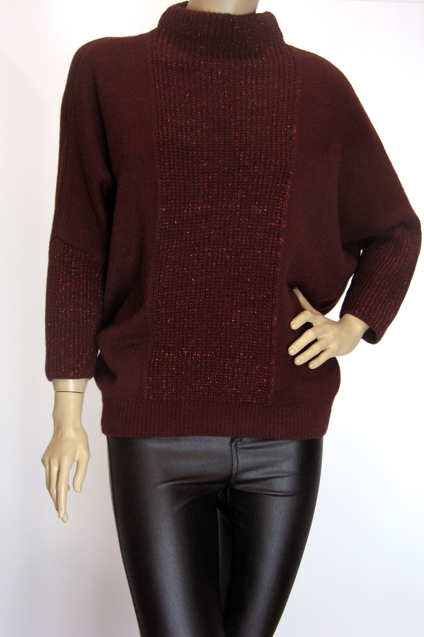 Модный женский свитер с люрексом большого размера