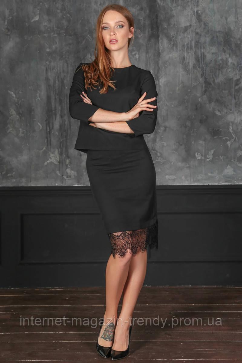 Модный костюм-юбка+кофта,с кружевной отделкой,в двух расцветках ИБП50364093