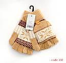 Перчатки-варежки вязанные с обрезанными пальцами (продаются только от 12 пар), фото 5