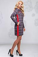 Класичне жіноче плаття в клітку з довгим рукавом 50-54 розміру чорно-червона клітка, фото 1