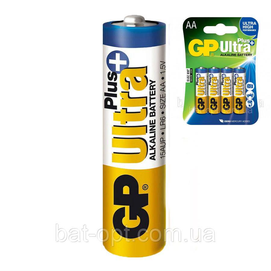 Батарейка щелочная GP 15AUP-U4 Ultra Plus Alkaline LR6 AA пальчиковая (блистер)