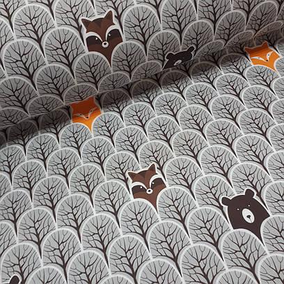 Ткань польская бязь, лисы оранжевые и мишки темно-коричневые в сером лесу