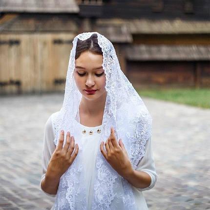 Белый свадебный палантин Волнующая роспись, фото 2