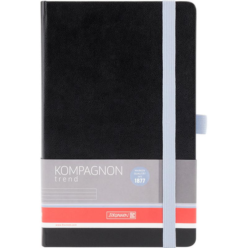 Книга записная Компаньон черная со светло-голубым срезом, А5, клетка