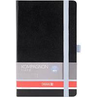 Книга записная Компаньон черная со светло-голубым срезом, А5, клетка, фото 1