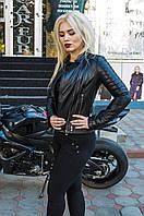 Куртка кожаная на 2 молнии, воротник - отложной, цвет - черный, фото 1