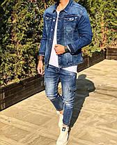 Пиджак стильный мужской джинсовый синего цвета, фото 3