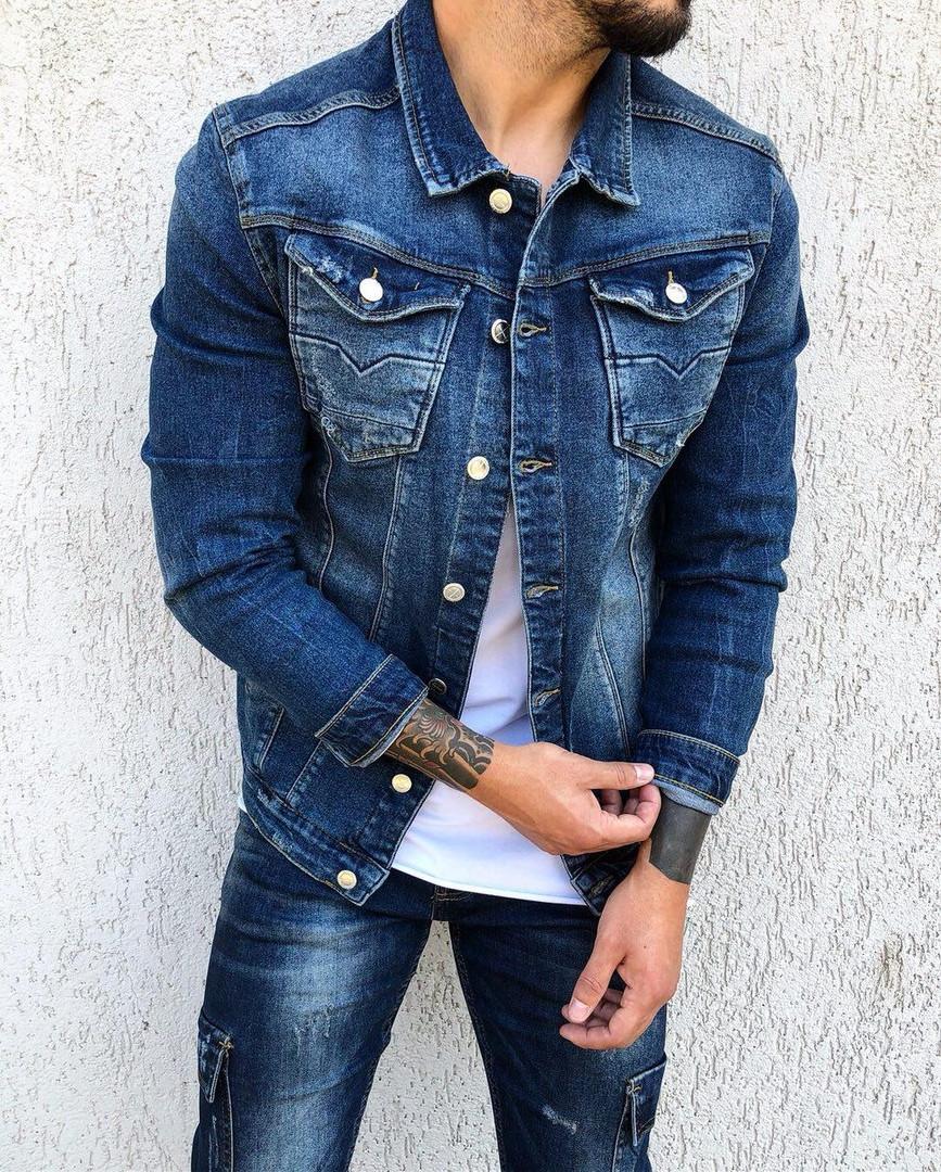 Пиджак стильный мужской джинсовый синего цвета