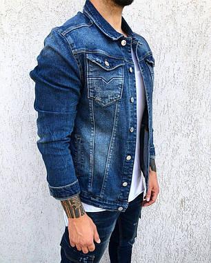 Пиджак стильный мужской джинсовый синего цвета, фото 2