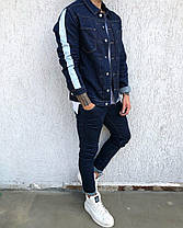 Пиджак стильный мужской джинсовый бело-синий, фото 2
