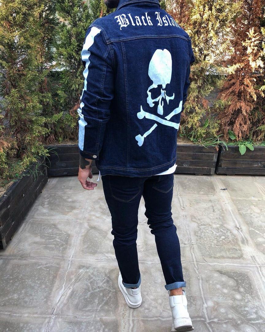Пиджак стильный мужской джинсовый бело-синий